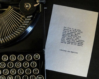 Gift for Writers The Blaze Writing Inspiration Poem - Set Fire To My Pen Original Typed Poem Writer Author Poetry Gifts for Writers