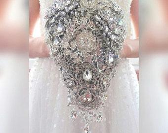 "Ready to ship 6""W*10""L teardrop cascading brooch bouquet. Waterfall silver bling crystal alternative broach jewled boquet"