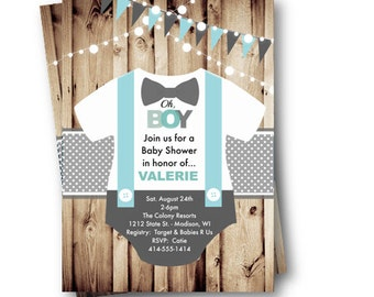 Onesie Baby Shower Invitation Boy Bowtie Bow Tie Suspenders Rustic Oh Boy  Little Man Baby Shower
