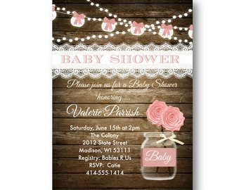 Rustic Baby Shower invitation girl pink shabby chic lace wood printable or printed pink and white bows baby shower invite for girls baby 5x7