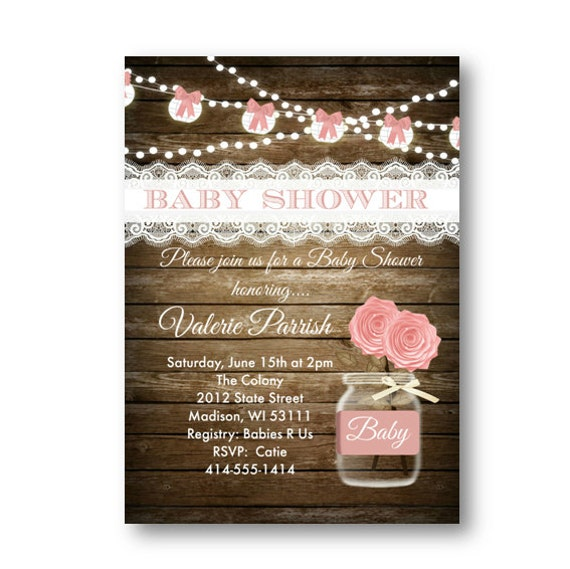 Rustic Baby Shower Menu ~ Rustic baby shower invitation girl pink shabby chic lace