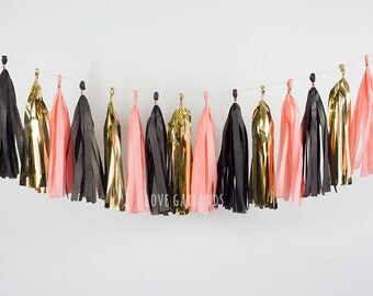 Black Coral Gold Tassel Garland, Black Coral Tissue Garland, Black Coral Gold Banner, New Years Party Decor, New Years Tissue Tassel Garland