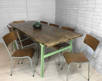 Salvaged Vintage Industrial Cast Iron Steel Reclaimed Rustic Timber Factory Bench Farm Dining Table Mid Century 1960s