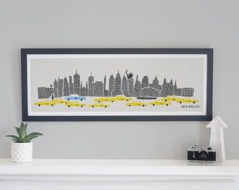 Panoramic Art Print, New York Cityscape, New York Gifts, Oversized Art, Mid Century Modern, Apartment Decor, Housewarming Gift, Landmarks