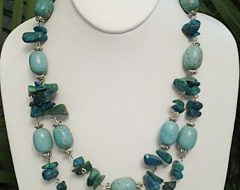 Turquoise Beaded Two Strand Necklace / Turquoise and Silver Beaded Necklace.