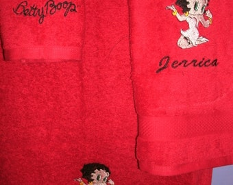 Betty Boop Kneeling Personalized Bath towel, Hand Towel  & washcloth Set ANY COLOR