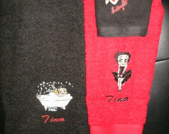Betty Boop Mix Personalized  Bath towel,  Hand Towel  & washcloth Set ANY COLOR