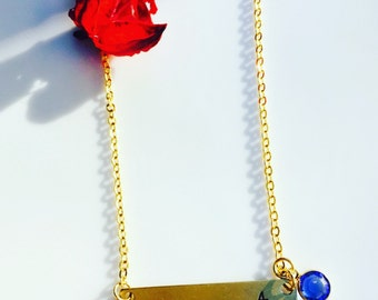 Personalized stamped Gold filled Initial Necklace/gold filled Necklace /Swarovski Birthstone