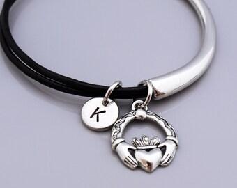 Claddagh Bangle, Claddagh bracelet, Irish Love symbol, St Patrick's day, Leather bracelet, Leather bangle, Personalized bracelet