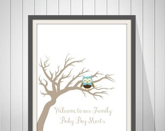 Baby Boy Shower Owl Guest Book Fingerprint Tree Guest Book Baby Girl Birthday Owl Fingerprint Baby Shower Tree Print -