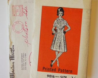 Vintage 1960s Marian Martin Pattern 9016 / Bust 38 / Misses' Day Dress / Factory Folds