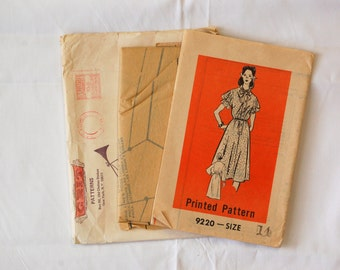 """Vintage 1970s Mail Order Pattern 9220 / Size 14 / Bust 36"""" / Factory Folds / Misses' Dress Sewing Pattern"""
