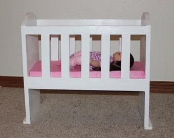 Custom Baby Doll Crib, Wooden Doll Crib, 18 inch Doll Furniture, American Girl, Bitty Baby, Build-A-Bear