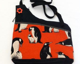 Orange Penguins Handmade Asymmetrical Shoulder Bag