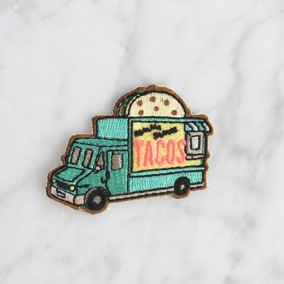 Taco Food Truck Patch - Iron On, Embroidered Applique - Aqua - Turquoise Blue
