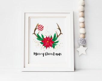 Digital print - Christmas antlers print - modern christmas decor - watercolor print - christmas print - instant download