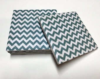 Teal Chevron Coasters - Chevron Home Decor - Drink Coasters - Tile Coasters - Ceramic Coasters - Table Coasters
