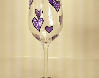 Hand painted Wine glass Purple hearts Ladies