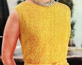 Dress Pattern Mod Dress Pattern Vintage 60s Shift Dress Pattern KNITTING PATTERN