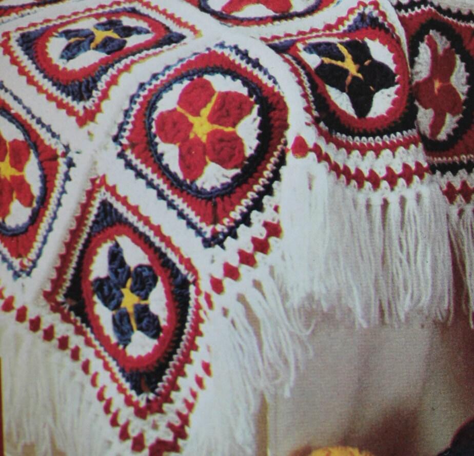 crochet blanket pattern vintage 70s fringed crochet afghan pattern crochet throw pattern boho. Black Bedroom Furniture Sets. Home Design Ideas