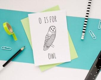Owl Card. Animal Alphabet Card. 100% Recycled Card & Envelope
