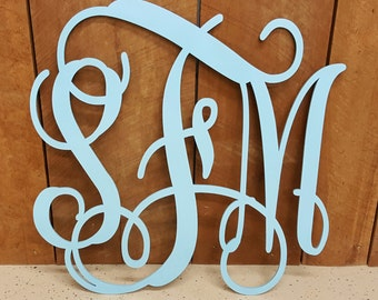 PAINTED Wooden Initials - Vine Script Monogram - Monogram Door Hanger - Monogram Wall Hanging - Wedding Monogram - Nursery Monogram