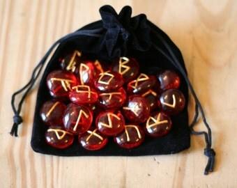 Red Glass Elder Futhark Runes, 25 Piece Set