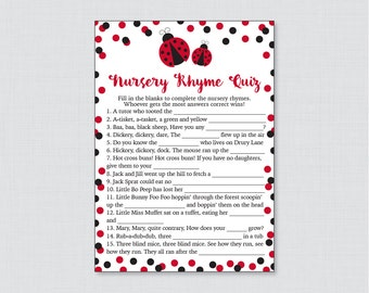 Ladybug Nursery Rhyme Quiz Baby Shower Game - Printable Instant Download -  Red Ladybug Baby Shower Game Nursery Rhyme - 0050-R