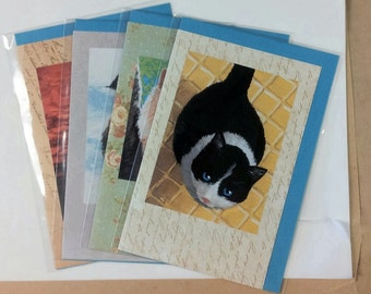 Set of four note cards with paintings of cats