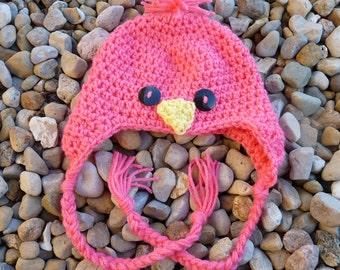 0- 6 Months Baby Bird Hat--Coral