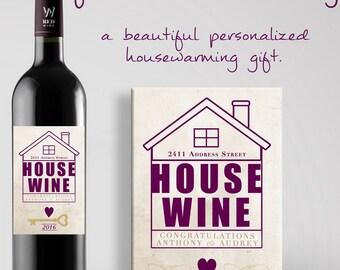 Personalized Housewarming Gift Beautiful Custom Wine Label for Homewarming Personalized Wine Label