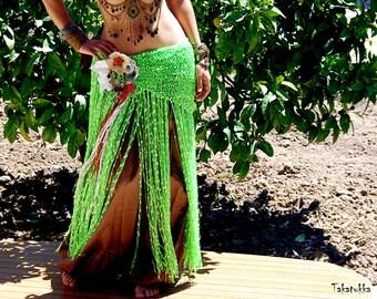 Green Shawl, Belly dance belt, Tribal Fusion Belt, Fringe Scarf, Dancing Shawl, Bellydance costume, Flamenco shawl, Hip Wrap, Hip Scarf