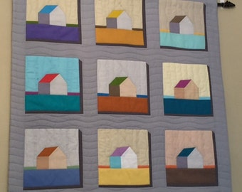 Quilted Wall Hanging, Beach House Quilted Wall Hanging, Art Quilt