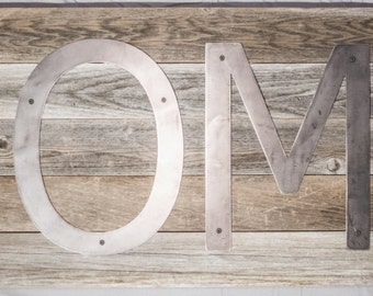 Barnwood Home Sign with Metal Letters