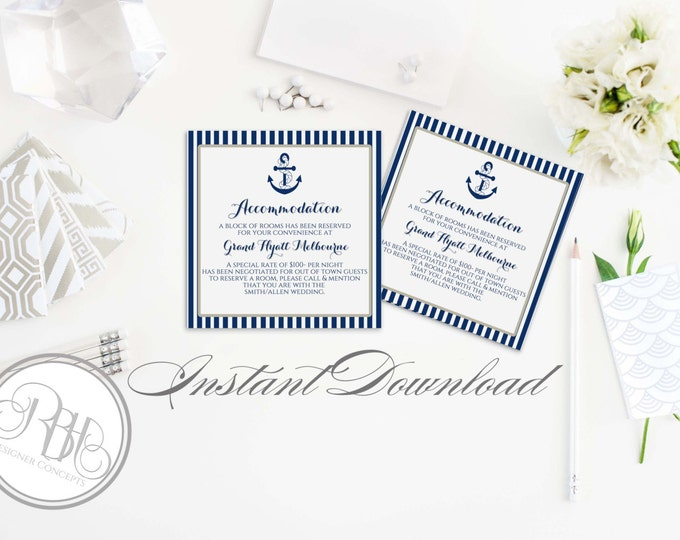 "Nautical Accommodation-INSTANT DOWNLOAD-DIY Editable Text-Information Cards - Nautical Navy & White Boat Anchor Design - ""Xena Navy White"""