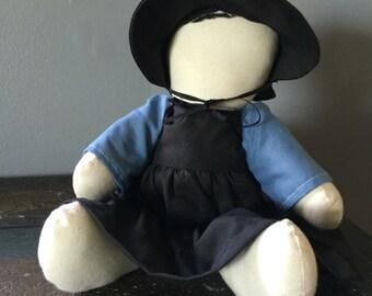 "Vintage Handmade Amish Rag Doll Primitive Doll Folk Art 10"""
