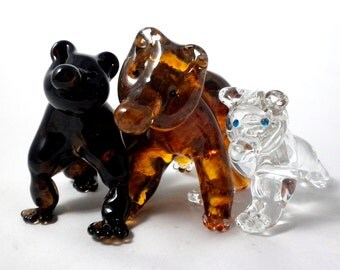 Glass Bear- hand sculpted glass, grizzly, black, polar bear, organic, nature, sculpture, 1 of a kind, unique character, great gift idea