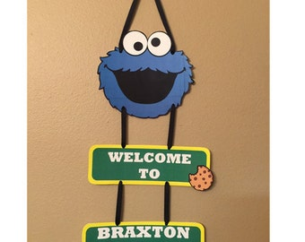 Cookie Monster Door Sign - Cookie Monster Birthday Party Decorations - Sesame Street Party Supplies
