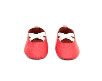 Handmade Genuine Leather Mac&Lou Baby Girl Ballerina Shoes Sandals Moccasins Babies Booties Shoes Baby Shower Gift Christmas Gift Pink/White