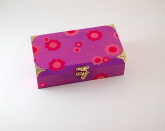 Purple Wooden Jewellery/Trinket Box, Keepsake/Bits and Bobs Box, Jewellery Storage