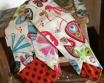 Flannel Scarf Tie - Birds and Orange dot Youth Super Soft custom, Winter fashion neck scarf