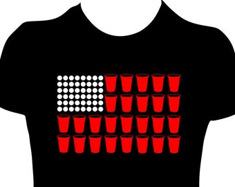 Beer Pong American Flag Funny Tee for Women or Men available in Glitter or Non-Glitter Tshirt