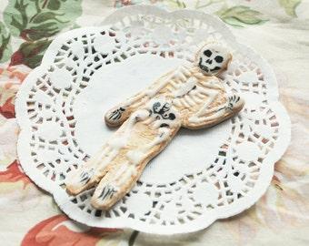 Skeleton Faux Cookie Fridge Magnet - OOAK