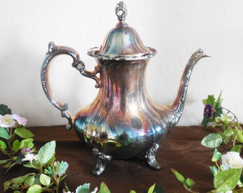 Silver Teapot, Silver-plate, Tea Party, Tea Service Pot, Coffee Pot, Home Decor, French Country Cottage, Shabby Chic