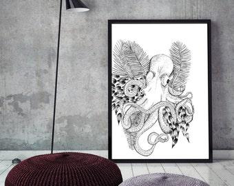 Giant Octopus *Nature Nautical Sea Print Handmade lllustration*
