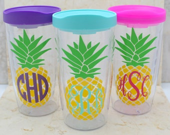 Pineapple 16oz Tumbler - Monogrammed/Personalized