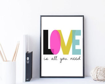 love printable - love is all you need - inspirational quote - wall art print - Beatles poster - Beatles gift - song lyrics - Beatles nursery
