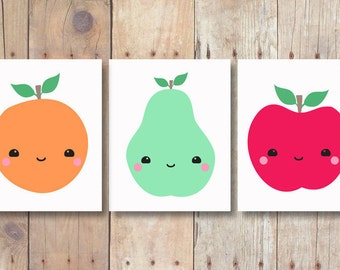 wall art set - kitchen prints set of 3 prints - kitchen printable art set - food art set - fruit print set - food print - apple pear orange