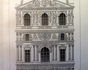 Antique  Louvre  print, vintage architecture engraving, 1852 ancient Pavillon MILIEU art, building  decoration France plate.