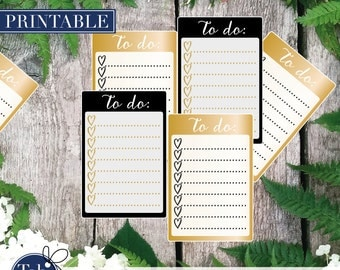 TO DO black and gold heart checklist printable planner stickers. Calligraphy checkboxes for Erin Condren and Happy planner planner.